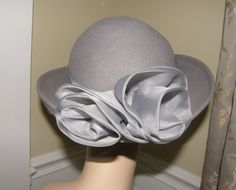 Vintage Hat Dove Grey Wool with a Double Fabric by Nicholettes, $37.00