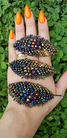 Feather /leaf brooch and earrings Handmade by Ozana
