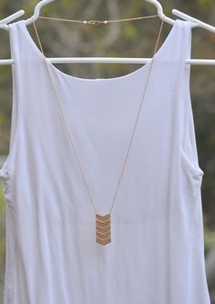 Long Chevron Necklace in Gold. Long Gold Necklace. by RusticGem