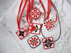 traditional Ukrainian ethnics pendant jewelry by MosaicArtJewelery Cross Stitch Beginner, Simple Cross Stitch, Beaded Embroidery, Cross Stitch Embroidery, Hand Embroidery, Loom Beading, Beading Patterns, Cross Stitch Designs, Cross Stitch Patterns