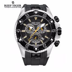 Reef Tiger/RT Men Sports Watches Quartz Watch with Chronograph and Date Big Dial Super Luminous Steel Designer Watch RGA303
