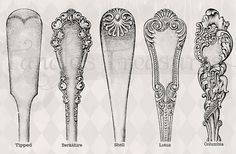 Vintage Silverware Styles illustration Repinned by www.silver-and-grey.com