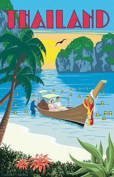 Vintage travel poster for Thailand (artwork by Charles Avalon) Old Poster, Poster Art, Retro Poster, Kunst Poster, Art Deco Posters, Vintage Travel Posters, Vintage Postcards, Designers Gráficos, Art Et Design