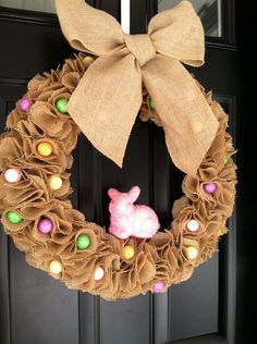 Easter Wreath burlap easter wreath spring by jennyCmoon on Etsy