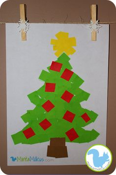 Easy christmastree project for the very little ones - with free pattern Cute Crafts, Diy Crafts, 4 Year Olds, Little Ones, Free Pattern, Christmas Tree, Winter, Teaching Ideas, Projects