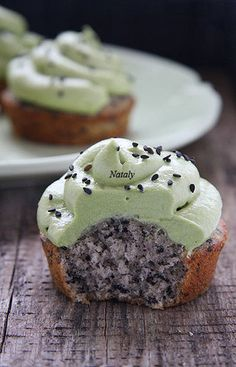 Black Sesame Muffins with Matcha Buttercream. Nutty and sweet, this dessert is a sure-fire way to impress your brunch guests. Cupcakes, Cupcake Cakes, Yummy Treats, Sweet Treats, Yummy Food, Muffins Frosting, Cupcake Recipes, Dessert Recipes, Green Tea Recipes
