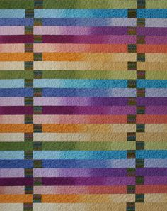 """""""Yipes! Stripes!"""" pattern by Urban Elementz. Quilt by Jane Hardy Miller. Great use of ombre fabrics!"""