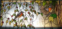 http://spectrumstainedglassstudio.com/the-sunroom-windows.html stained glass birds bluebirds