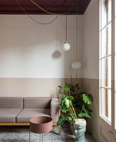 Colour blocking brightens fire-damaged Klinker Apartment in Barcelona Types Of Floor Tiles, Colour Blocking Interior, Moving Walls, Interior Design Minimalist, Living Area, Living Room, Built In Furniture, Colored Ceiling, Apartment Layout