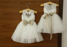 Lace Flower Girl Dress Ivory Short Flower Girl by onlineDress, $45.00