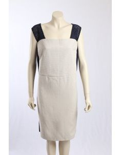 This DKNY dress is in a stiff beige natural cotton with navy side panelling and shoulder straps. The navy panelling is in stretch cotton to give a comfortable fit. The dress has cap sleeves and is fully lined. Panelling, Navy Dress, Shoulder Straps, Cap Sleeves, Designer Dresses, Fashion Dresses, Dresses For Work, Beige, Natural