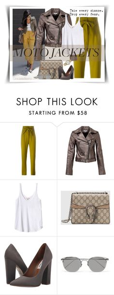 """""""After drak: Moto jacket"""" by grachy ❤ liked on Polyvore featuring Olympia Le-Tan, Parker, Rebecca Taylor, Gucci, Steve Madden, Linda Farrow, Rolex and polyvoreeditorial"""