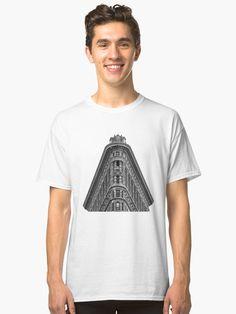 Flatiron Building Classic T-Shirt Flatiron Building, Flat Iron, Men's Apparel, Manhattan, Monochrome, Skyscraper, Chiffon Tops, Classic T Shirts, Nyc