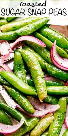 This Roasted Sugar Snap Peas recipe is healthy and full of fiber and protein! Perfectly roasted, simply seasoned, and slightly sweet, this easy side dish is always a hit. Healthy Vegetable Recipes, Pea Recipes, Healthy Vegetables, Side Dish Recipes, Veggie Snacks, Veggies, Health Recipes, Potato Recipes, Dinner Recipes Easy Quick