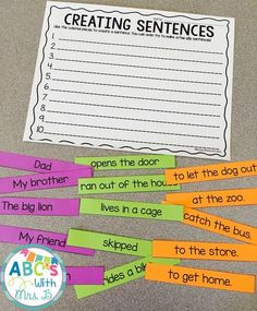 Get this FREE literacy center! Students use the different parts to create a sentence. There are parts that make up sentences that make sense, but students can also make silly sentences. Students can use these during word work or literacy centers to build Kindergarten Writing, Teaching Writing, Work On Writing, Writing Lessons, Teaching Grammar, Writing Workshop, Writing Process, 2nd Grade Ela, First Grade Writing