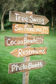 So cute! You could put miles to your fav places as a couple and then the wedding stuff like ceremony, reception, photobooth -rustic wedding signs via Peter Loves Jane