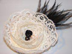 Victorian Style Lace Rose & Feather Hair Clip by LizziesBowtique1