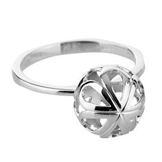 J by Jasper Conran Large sterling silver flower cage ball ring