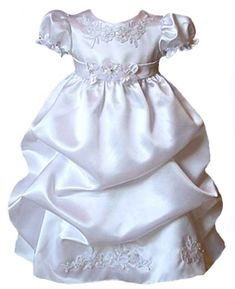 6cc4783f5 Amazon.com: Satin Puffed Skirt Christening Dress 0-6M Sm (kid B574)(White):  Infant And Toddler Christening Apparel: Clothing
