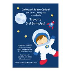 Astronaut OUTER SPACE Birthday Invitation