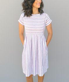 Another great find on #zulily! Scarlet & White Chambray Stripe Dress #zulilyfinds