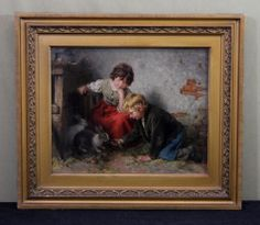 Realized 12,101.00 May 18, 2014. 19thC Antique FELIX SCHLESINGER German Genre Children  Rabbits Oil Painting