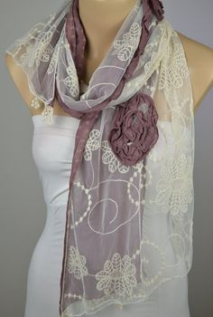 ON SALE   Lace Braiding Scarf  Cotton Scarf  Cowl by LIFEPARTNER, $15.00