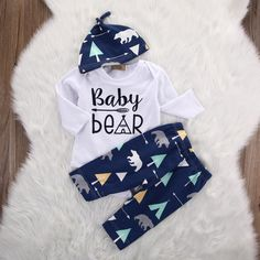 This soft cotton outfit is the perfect baby shower gift, take home outfit, fall picture's clothing set, and much more. With Baby Bear on the front and a teepee with arrow design this tribal outfit is