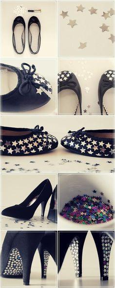 tacones y chatitas con estrellas