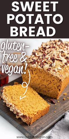This fluffy, sweet, gluten-free sweet potato bread is easy to make and full of warm fall flavours. It's freezer-friendly, and great for sweet treats and snacks! Make this delicious, vegan bread recipe this fall and enjoy! #recipe #vegan #sweetpotato #glutenfree #fallrecipe #dessert Healthy Vegan Desserts, Delicious Vegan Recipes, Vegan Snacks, Yummy Food, Vegan Food, Healthy Recipes, Best Comfort Food, Comfort Foods, Sweet Potato Bread