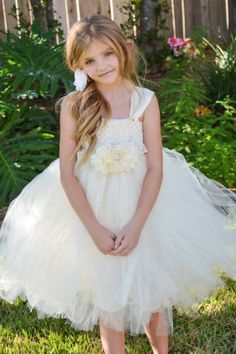 Ivory Flower Girl Tutu Dress with Rhinestone by PoshPixieTutu, $69.99