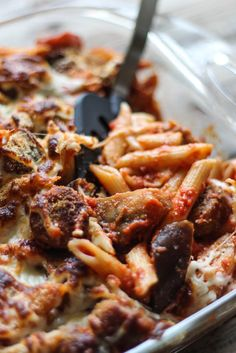 Baked Penne with Eggplant and Italian Sausage