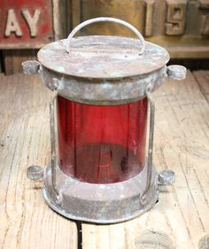Beach Decor Red  Copper Vintage Nautical Ship Lantern