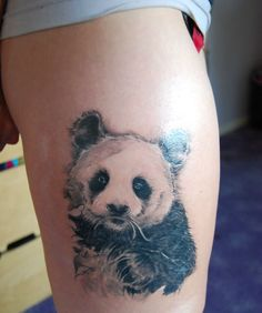 Panda bear tattoo ideas are symbolic. Panda tattoo lovers enjoy this body art idea due to its symbolism of inner peace and balance. Panda Tattoos, Animal Tattoos, Small Lion Tattoo, Small Eagle Tattoo, Lotus Flower Tattoo Wrist, Lilo And Stitch Tattoo, Bear Tattoo Meaning, Tribal Back Tattoos, Mädchen Tattoo