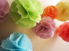 Dye your own doilies and make this cute pom pom garland. Juneberry Lane