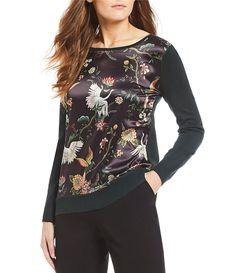 ffa277c3a1db Investments Floral Print Long Sleeve Mix Media Sweater  Dillards Longer  Than
