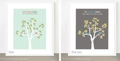 So doing this for our family... and we already have love birds! ;-) Personalized Love Birds Tree Print 8x10 | Jane