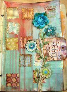 art journal page by Donna Downey  Flowers, squares and wording text