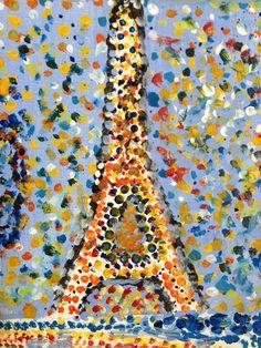Samantha Paris- Q tip art of the Eiffel Tower Tour Eiffel, Q Tip Art, Eiffel Tower Craft, France For Kids, France Craft, Paris Crafts, Springtime In Paris, Paris Art, Thinking Day