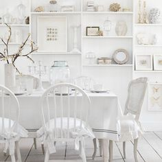 Pure white country dining room