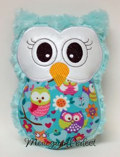 Aqua Plush Owl Pillow, Soft Toy