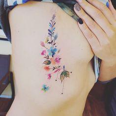 "Javi Wolf on Instagram: ""Adios guadalajara! Mañana df!! Espero les guste !!#flowers #tattoo #ink #javiwolf #watercolor  agenda abierta!"""