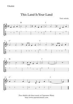 This Land Is Your Land - Free easy ukulele tab sheet music Ukulele Tabs Songs, Ukulele Fingerpicking Songs, Ukulele Chords, Guitar Songs, Music Songs, Free Guitar Lessons, Music Lessons, Free Printable Sheet Music, Guitar Design