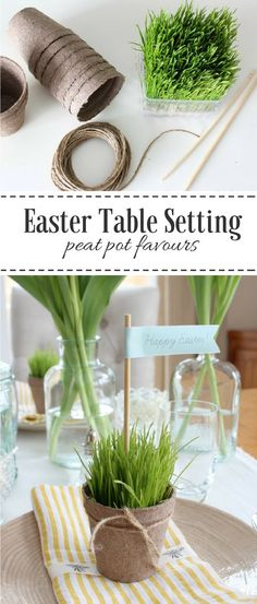 Learn how to create a nature-inspired Easter tablescape with wheatgrass peat pots, beautiful tulip arrangements and more!