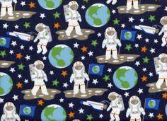 Glow in the Dark Astronauts Flannel Blue