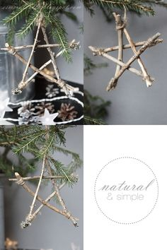 Star ornaments made from twigs, cute for a camping craft.  Then hang on your Christmas tree to always remember your trip.