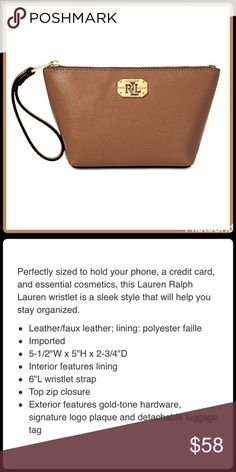 """JUST IN❤️NEWBURY WRISTLET/COSMETIC BAG Perfectly sized to hold your phone, credit card, and essential cosmetics! ▪️Leather body ▪️5-1/2""""W x 5""""H x 2-3/4""""D ▪️Interior lining ▪️6""""L wristlet strap ▪️Top zip closure ▪️Signature logo plaque  🛍 2+ BUNDLE=SAVE  ‼️NO TRADES--NO HOLDS--NO MODELING  💯 Brand Authentic  ✈️ Ship Same Day--Purchase By 2PM PST  🖲 USE BLUE OFFER BUTTON TO NEGOTIATE   ✔️ Ask Questions Not Answered In Description--Want You To Be Happy! Lauren Ralph Lauren Bags Clutches…"""