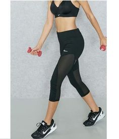 a42048031 Nike Womens Racer Power Yoga Running Training Black Capri XS 855144-010 # Nike #