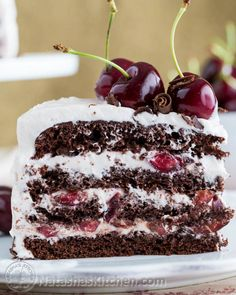 This cake is amazingly good; moist, chocolatey, boozy, and cherry-liscious! it's a winner! from Natashaskitchen.com