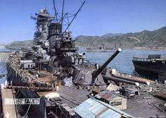 """lex-for-lexington: """"Battleship Yamato under construction at Kure, Japan, 20 September Aircraft carrier Hosho at the right and supply ship Mamiya in the distance. Yamato and her sister Musashi. Naval History, Military History, Yamato Class Battleship, Imperial Japanese Navy, Navy Ships, Aircraft Carrier, Royal Navy, War Machine, World War Two"""